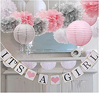 luckylibra Baby Girl Baby Shower Decorations, It is a Girl Banners and Paper Lantern Paper Flower Pom Poms (Pink White Grey)