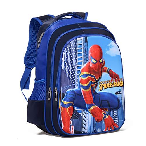 MODRYER I Bambini Zaino Supereroe Spiderman Ferro Pranzo Sacchetto Impermeabile Leggero Student Daypack Elementare Studenti Zaino Resistente Deposito Confezione,Blue-L(42 * 30 * 18cm)
