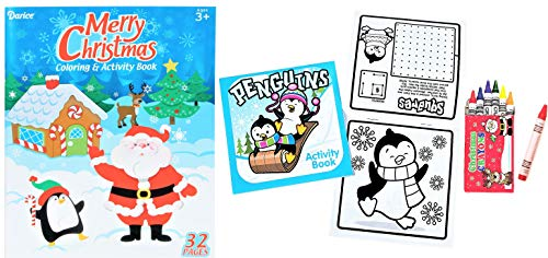 Christmas Holidays Kids Coloring & Activity Books & Crayons Assortment - Children