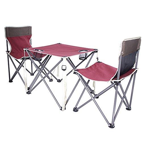 RANGE Outdoor Pieghevoli da Esterno Tre Pezzi di tavoli e sedie da Campeggio per Adulti
