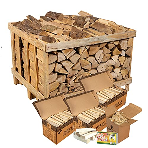 Logpile Kiln Dried Hardwood Firewood Logs and Kindling Starter Kit. 400 Kg. Suitable for All Stoves, Fireplaces and Fires. Ready to Burn Accredited and Sustainably Sourced.