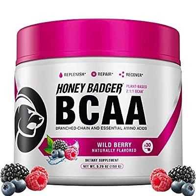 Honey Badger Vegan Keto BCAA + EAA Electrolyte Powder | Wild Berry | Natural Gluten Free Amino Acids Essential Aminos Sugar Free + Sucralose Free | 30 Servings