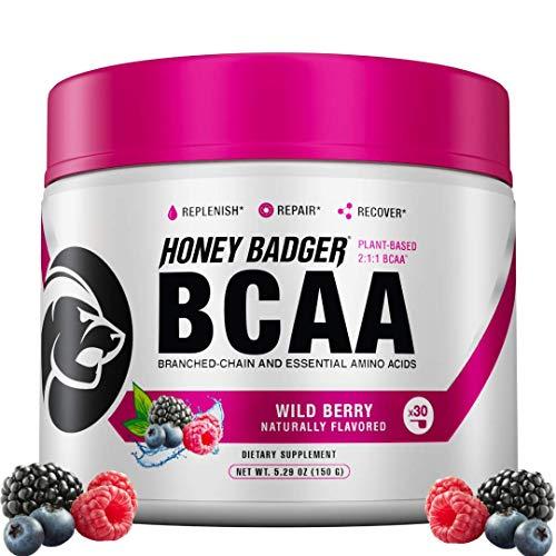 Honey Badger Vegan Keto BCAA Lean + EAA Electrolyte Powder | Wild Berry | Natural Gluten Free Amino Acids Essential Aminos Sugar Free + Sucralose Free | 30 Servings