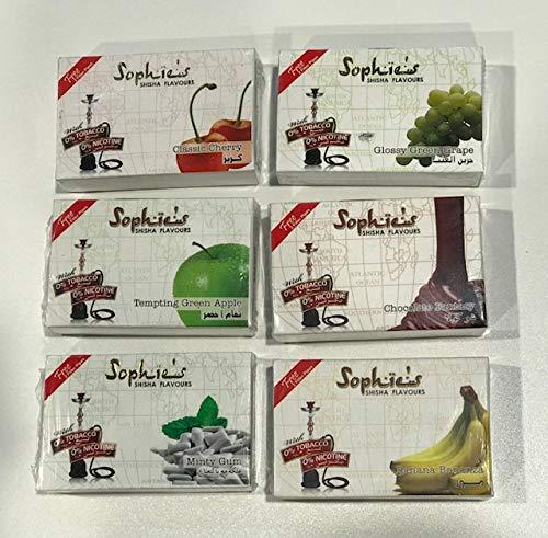 Pack 6 paquetes Shisha sin nicotina marca Sophie´s 50GR por paquete, total 300GR