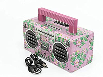 GPO BRONX Mini Bluetooth Speaker. Compact Retro Portable Speaker with Rechargeable Battery, USB Port, TF Card Port, and Aux, Outdoor Speaker for Parties, Floral Pink by Gpo