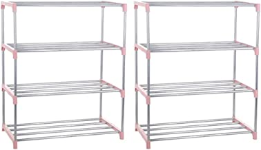 zhangcr Lot de 2 étagères de rangement en acier inoxydable à 4 étages pour chaussures