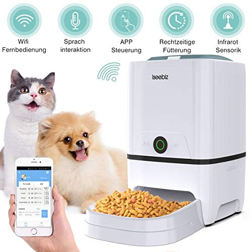 Iseebiz 6L Smart WiFi Futterautomat Hunde, Katzen Futterautomat Steuerung mit APP/voreingestellter Timer/Ton-Aufnahmefunktion