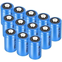 12-Pack 3V 1300mAh Bingogous CR123A Lithium Battery with PTC Protection Leak Resistant Non-Rechargeable Batteries for Flashlight Light Meter Toys Torch