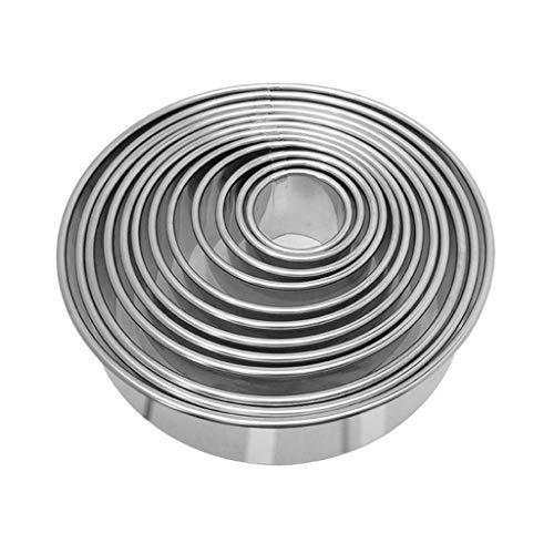 JERKKY Juego de cortadores de galletas, Juego de cortadores de galletas redondas 12 Cortadores de masa circular Set de cortadores de galletas redondas Moldes de anillo de metal para hornear en círculo