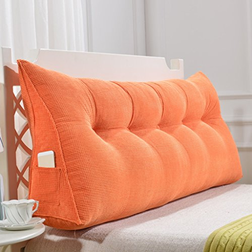 SESO UK- Ampio Divano Letto Filled Triangolare Cuneo Cuscino Bedroom Letto Schienale Cuscino Lettura Cuscino Lombare Ufficio Pad sfoderabile (Colore : Arancia, Dimensioni : 180 * 50cm)