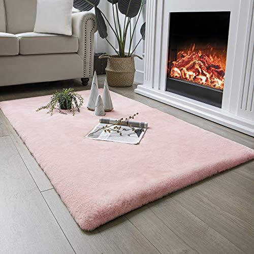 Tapis de fourrure de lapin artificiel QUANHAO, tapis de salon, tapis moelleux, tapis rampant solide de couleur unie douce, tapis de fourrure de lapin imitation de chambre à coucher (Rose, 80x120 cm)