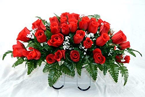 Red Rose Bud Cemetery Flower Arrangement Headstone Saddle Grave Tombstone Arrangement Cemetery Flowers Red Rose Bud Buy Online In Singapore At Desertcart