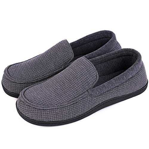 EverFoams Men's Comfort Memory Foam Moccasin Slippers Breathable Cotton...