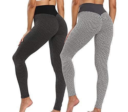 CMTOP Panal Arrugado para Mujer Leggings,los Pantalones de Yoga de con Gimnasio,Leggings Push Up Mujer Mallas Pantalones Deportivos Alta Cintura Elásticos Fitness Running (Negro + Gris, S)