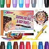 Luckyfine Pastelli Dipinti, 16 Colori Face Painting Trucchi per Feste Bambini, Trucchi per...