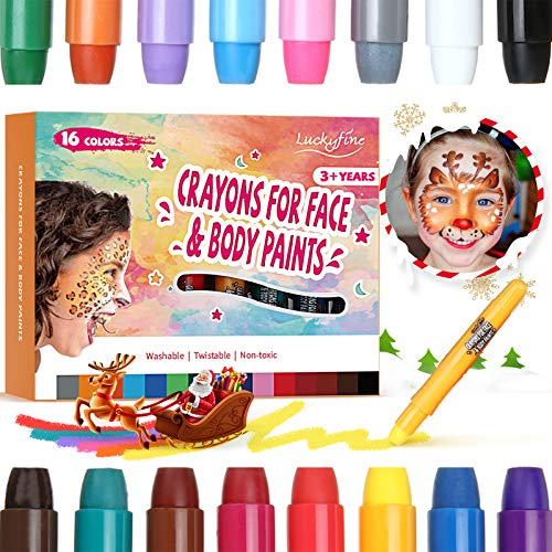 Face Paint Crayon 16 Colors, Luckyfine Face Painting Kit for Kids, Washable Non-irritating Painting Sticks Set, Face and Body Paint Crayons Halloween, Christmas Gift, Makeup Marker, Birthday Party