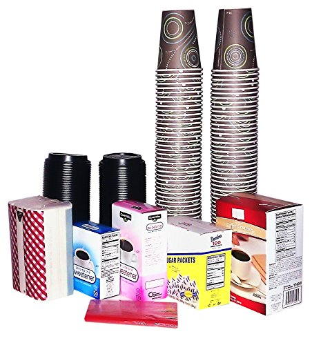 Coffee Club Pack - Everything You Need for 100 Cups of Coffee (except the coffee)! 100-12 oz. cups with lids, stir-sticks, creamer, sugar, saccharin and aspartame or sucralose packets. Plus Bonus!