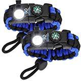 Nexfinity One Survival Paracord Bracelet - Tactical Emergency Gear Kit with SOS LED Light,...