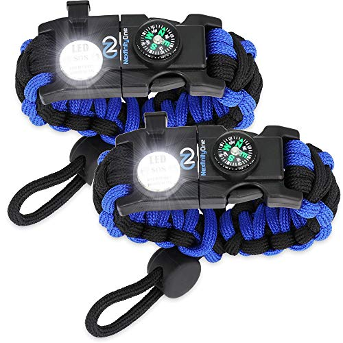 Nexfinity One Survival Paracord Bracelet - Tactical Emergency Gear Kit with SOS LED Light, Knife, 550 Grade, Adjustable, Multitools, Fire Starter, Compass, and Whistle - Set of 2 Blue