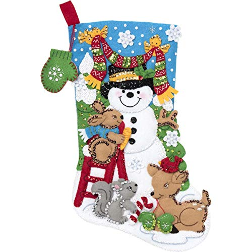 Bucilla Felt Applique Christmas Stocking Kit, 18', Building a Snowman