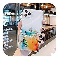 Josms for iPhone 11 12 Pro Max 12 Mini XR X XS Max 7 8PlusソフトIMDクリアフォンバックカバー用のヴィンテージカラフルマーブルフォンケース-c-for iPhone 12 Mini