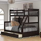 Merax Solid Wood Bunk Bed Daybed No Box Spring Needed with Guardrails and Ladder for Kids and Teens Trundle, Twin/Full, Espresso