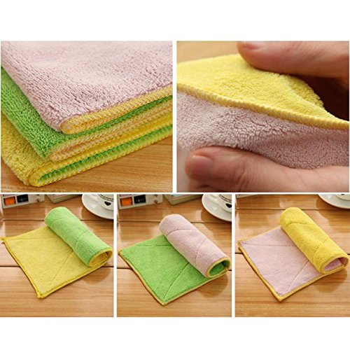 Mixed Color Microfiber Car Cleaning Towel Kitchen Washing Polishing Cloth, Kitchen,Dining & Bar, Products for Halloween Day (Random)