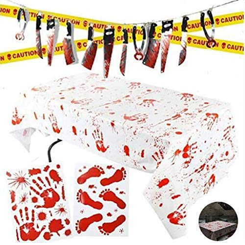 Review Yica Halloween Party Decorations,Bloody Birthday Set,Look Real Including Wall Decals Caution ...