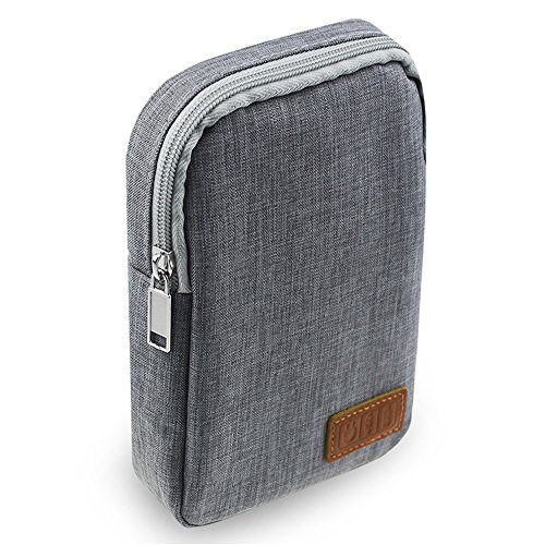 Electronic Accessories Bag,Digital Gadget Organizer Case,Gray Nylon Travel Gear Storage Carrying Sleeve Pouch for Cable,USB,Earphones,Portable Hard Drives,Power Banks