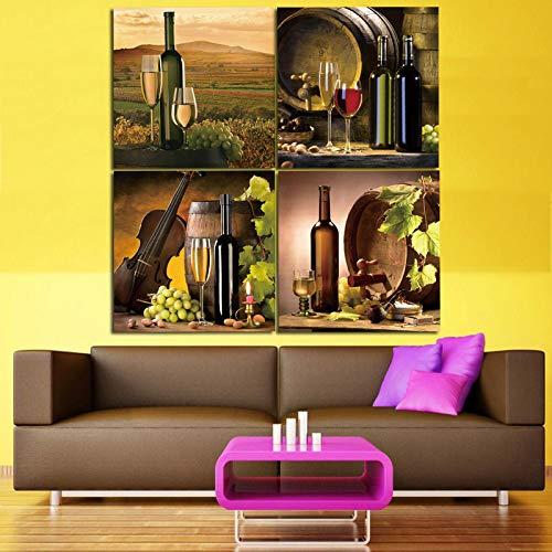 XIANGPEIFBH 4 Piezas Modernas Pinturas en Lienzo de Cocina Botella de Vino Tinto Arte de la Pared Pintura al óleo Set Bar Comedor Decoración Imágenes 20x20cmx4pcs sin Marco