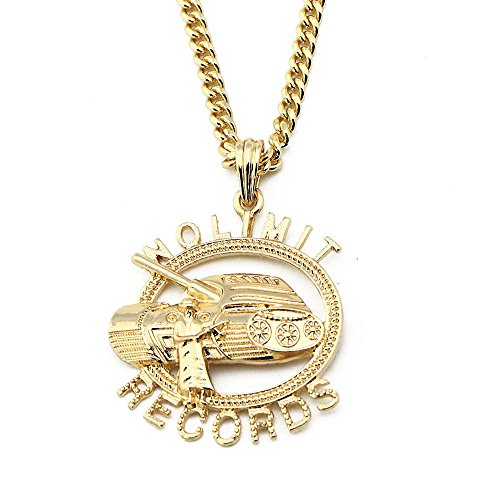 Iced Out Rounded No Limit Records Pendant w/ 24' Cuban Chain Necklace A1060PG