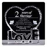 YWHL 2 Year 2nd Wedding Anniversary Crystal Sculpture Keepsake Gifts for Her Wife Girlfriend Him Husband