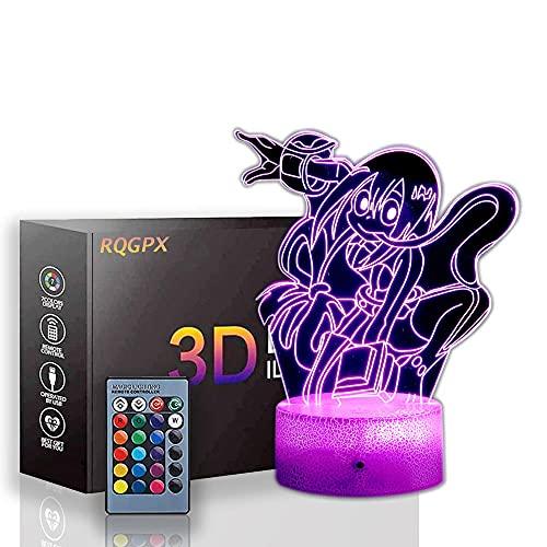 Lámpara de luces de ilusión 3D Asui Tsuyu My Hero Academia Decoración de escritorio Juguetes para niños, 7 años de edad, regalo para niño de 7 6 5 4 3