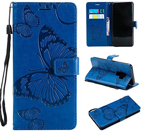 Ooboom Xiaomi Redmi Note 5A Prime Hülle 3D Schmetterling Muster Prämie PU Leder Schutzhülle Tasche Hülle Flip Cover Wallet Brieftasche Ständer für Xiaomi Redmi Note 5A Prime - Blau