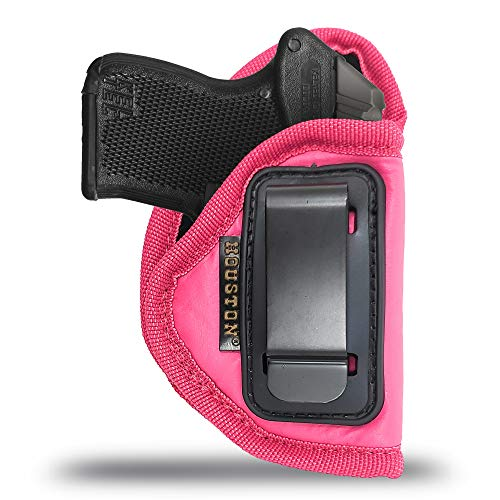 IWB Woman Pink Gun Holster - Houston - ECO Leather Concealed Carry Soft   Suede Interior for Maximum Protection   Fits: Most Small 380, Keltec, Diamond Back, Small 25 & 22 Cal (CHPK-71A-RH)
