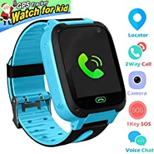 Kids Smart Watch Phone smartwatches for Children with LBS/GPStracker sim Card Anti-Lost sos Call Boys and Girls Birthday Compatible Android iOS Touch Screen Voice Chat Remote Camera