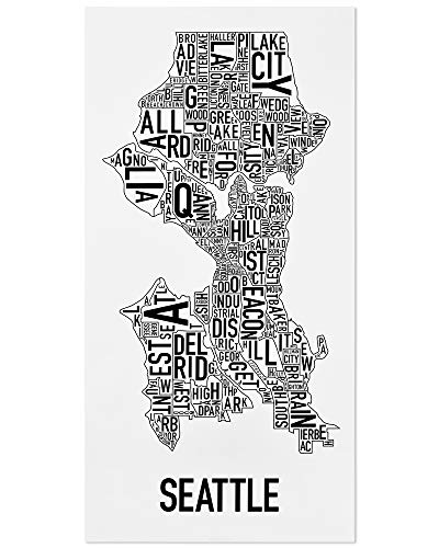 Seattle Neighborhoods Map Art Poster, Black & White, 16