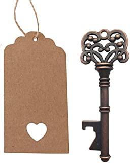Yansanido Pack of 50 Skeleton Key Bottle Opener with Escort Tag Card and Twine for Wedding Favors for Guests Gift Party Favors (Style 3)