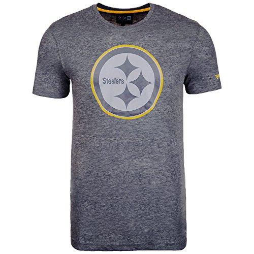 New Era Pittsburgh Steelers T Shirt Two Tone Pop Tee Heather Charcoal - L