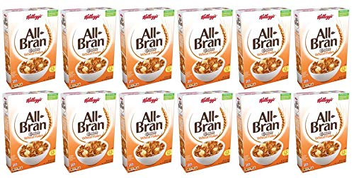 Kellogg's All-Bran Complete Wheat Flakes, Breakfast Cereal, Excellent Source of Fiber, 18 oz Box(2 count) (Pack of 6)
