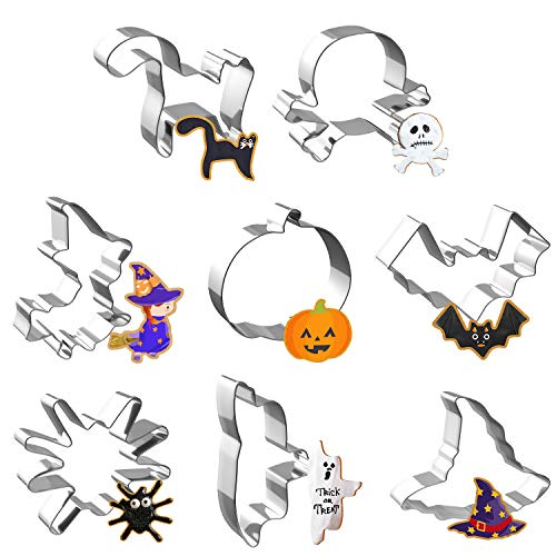 Joyoldelf 8pcs Halloween Cookie Cutters Set, Metal Biscuit Molds for Baking Bat,Cat,Witch,Pumpkin,Ghost,Spider,Skull,Witch Hat Shapes for Party Treat Decoration
