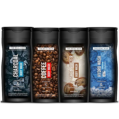 THE REAL MAN Charcoal, Coffee, 3 in 1 Hydro Wash Shower Gel, Shea Butter Body Wash Combo, Made in India, 500 ml, Pack of 4