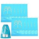 Bolsa de Viaje para Zapatos de 10 Piezas Grande con Cordón de Ventana Transparente Bolsas de Almacenamiento de Zapatos No Tejidas Impermeables a Prueba de Polvo (Azul Cielo)