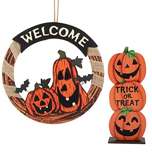BETESSIN 2 pz Decorazione Halloween Targa Porta in Legno Zucca Centrotavolo Ornamenti Cartello da Appendere Benvenuto Decorazione Addobbi Halloween Festa per Porta Tavolo Casa