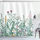 ABAKUHAUS Blumen Duschvorhang, Kuh-Petersilie-Musk-Malve, mit 12 Ringe Set Wasserdicht Stielvoll Modern Farbfest & Schimmel Resistent, 175x240 cm, Mehrfarbig