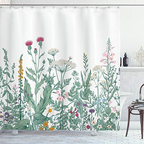 ABAKUHAUS Blumen Duschvorhang, Kuh-Petersilie-Musk-Malve, mit 12 Ringe Set Wasserdicht Stielvoll Modern Farbfest und Schimmel Resistent, 175x240 cm, Mehrfarbig