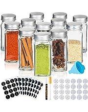 Deco haus Kruidenpotjes glas 120 ml hoekig kruidenstrooier leeg voor het bewaren van specerijen