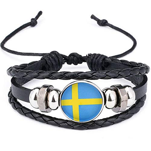 Deanyi 2018 Schweden Nationalflagge Armband Armbänder Leder flicht Fußball Armband Team Flagge Handband Armband Schmuck