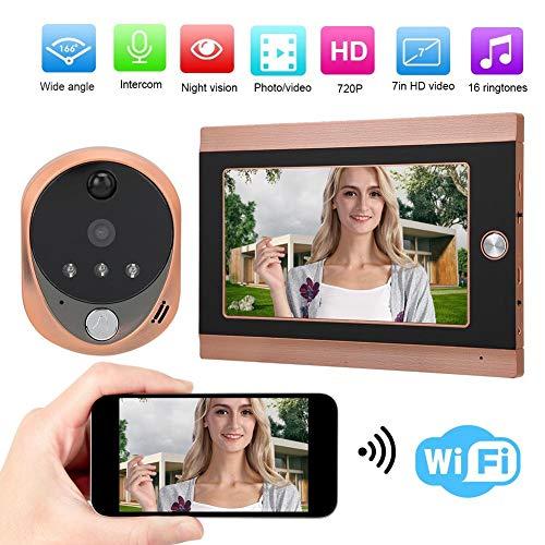 Visor Puerta, 7 pulgadas 720P HD LCD WIFI Cámara de Mirilla Digital Inalámbrica con 160 ° ángulo Visión, Visión Nocturna, Detección de Movimiento, Audio Bidireccional Sistema de Timbre Hogar.(EU)