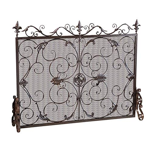 Buy HWF Brown Large Fireplace Screen with Metal Mesh, Solid Wrought Iron Frame with Decor Scroll Des...